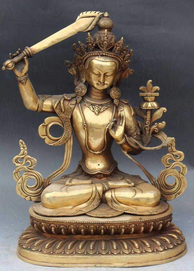 """Xd 002132 17 """"Tíbet Budismo Bronce Chino Wenshu Manjushri Espada kwan-yin Estatua de Buda"""