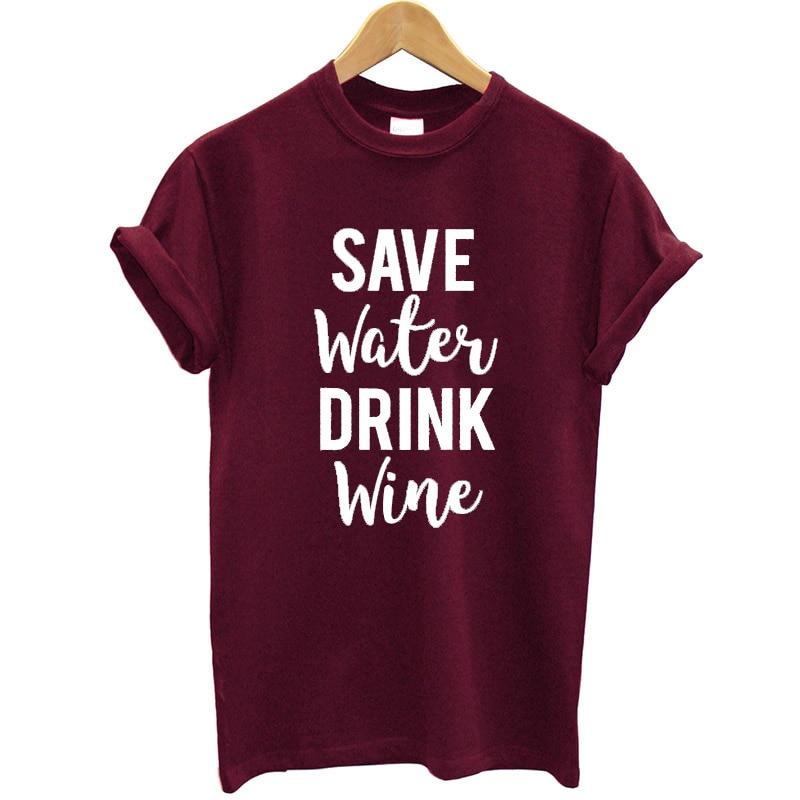 Женская футболка, хлопковая Футболка с принтом «сохранить воду пить вино», большие размеры, новые летние топы, женская футболка, одежда