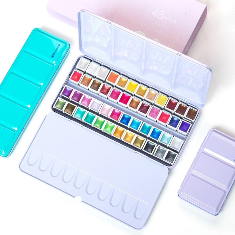 Juego de 12/24/48 colores nacarado de pinturas de acuarela con brillo, caja de lata de pigmento, juego de paleta de pintura sólida para estudiantes