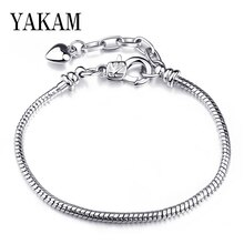 Fit original europe charms bracelet beads lobster bangles base adjust extension chain hombre pulseras women jewelry diy berloque
