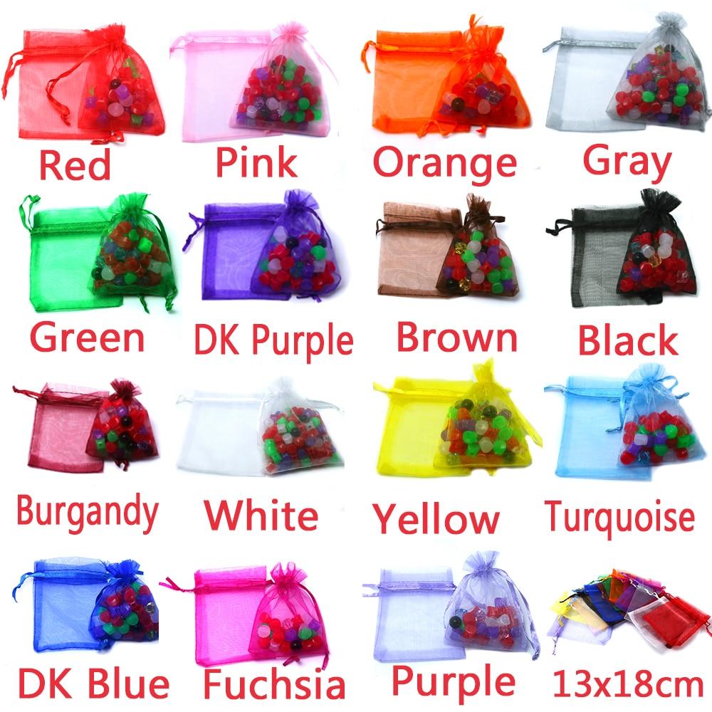80 unids/bolsa 13x18 cm bolsas de Organza mezcladas bolsas de regalo de boda bolsas de embalaje de joyería bolsa de gasa transparente