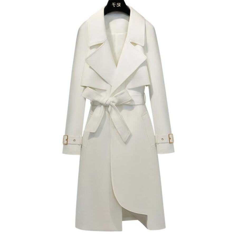 De talla grande 3XL! Cazadora 2020 otoño Trench abrigo ajustable cintura delgada slim sólido abrigo blanco gabardinas largas