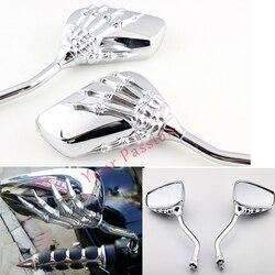 Хром Череп Rearveiw зеркала для Honda Shadow Spirit Aero VT 750 1100 Suzuki Boulevard M109R M50 M90 M95 C109R C50