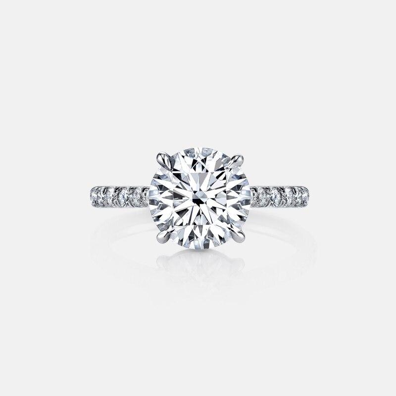 Qyi 925 anel de prata esterlina 2 quilates redondo corte sona nscd anel de noivado para mulheres anel de promessa de casamento nupcial jóias