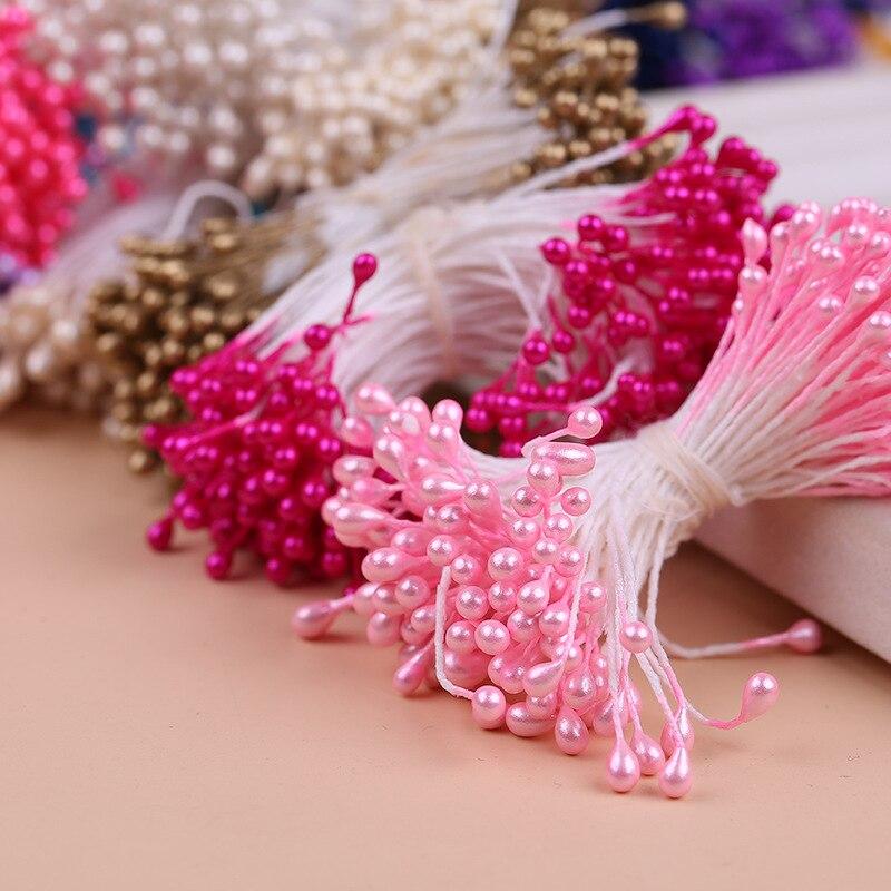 300 Uds Multi colores estambre perla azúcar flor Artificial hecha a mano para la decoración de la boda DIY 3mm estambre de pistilo Floral