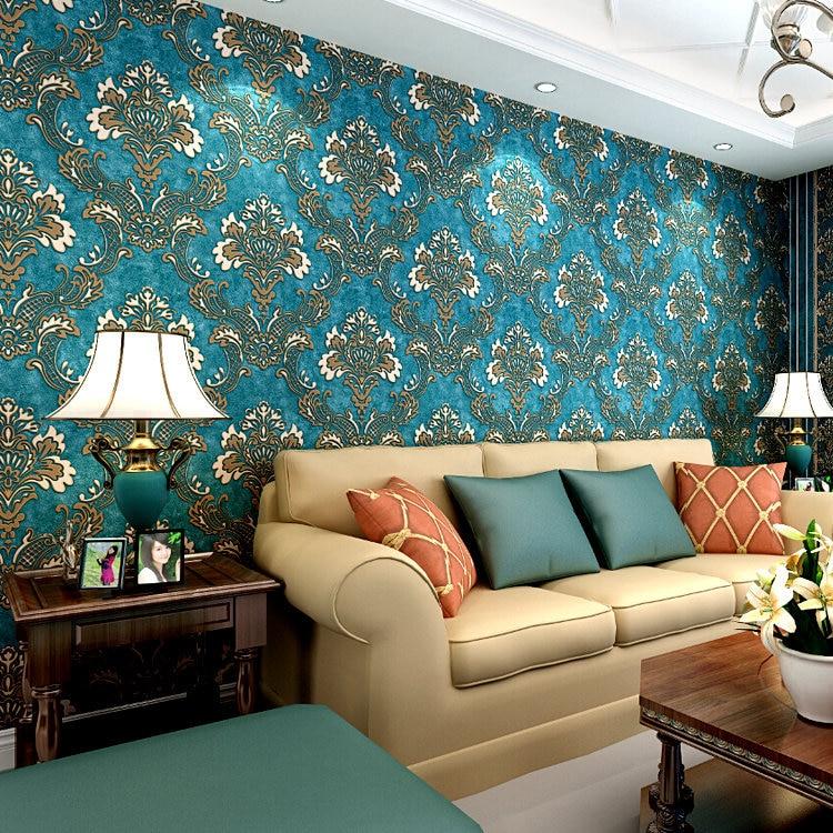 Venta al por mayor 3d flocado oscuro-azul Damasco pared papel tapiz rollos para ropa de cama habitación TV Fondo 3d papel de pared rollo fondos