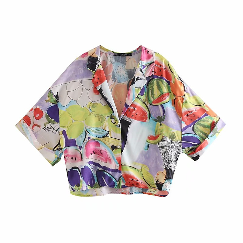 2019 Summer Fashion Fruit Print Colorful Za Blouse Women Short Sleeve V-neck Casual Street-wear Shirts blusas mujer de moda