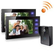 "7 ""tft 2.4g 2 모니터 무선 비디오 도어 폰 인터폰 초인종 홈 보안 카메라 모니터 컬러 스피커폰"