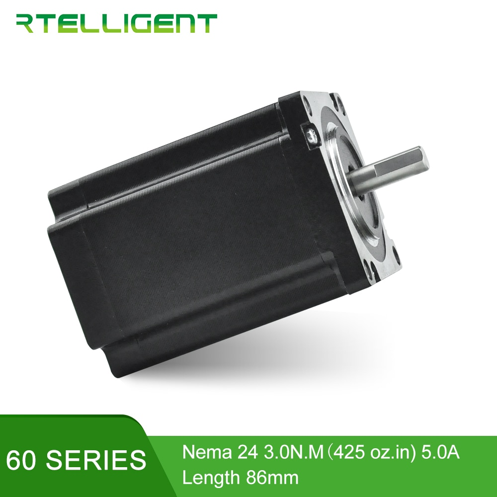 Rtelligent salida de fábrica 3D impresora Motor 4 Lead Nema24 Motor paso a paso 60 Motor 60A3 5.0A (425 oz) para CNC XYZ Motor