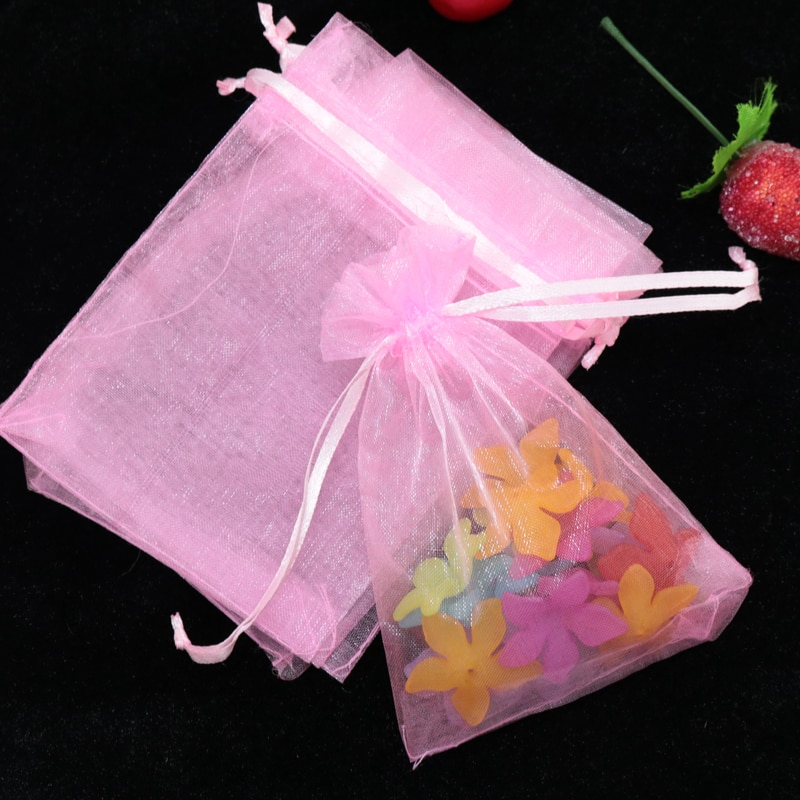 100 Sacos de Organza Cor de Rosa 17 pçs/lote x 23 cm Jóias Boutique de Doces Do Favor Do Casamento Sacos de Embalagem de Presentes Bonitos Do Presente de Organza bag & Bolsas