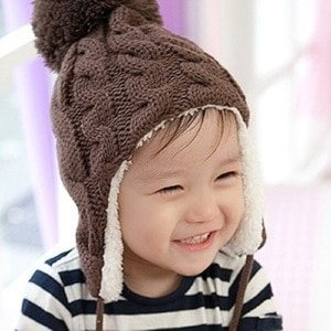 Acrylic kintted children's russia hat and cap winter warm bomber hat chapeau kids bonnet ushanka for baby boys girls 0-3 years