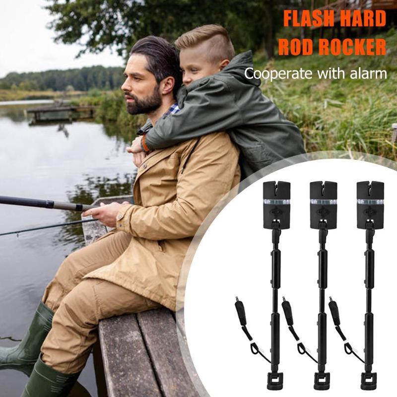 3 pçs conjunto de alarme de pesca com flash ajustável haste dura e balanço vara com 7 indicador de cor