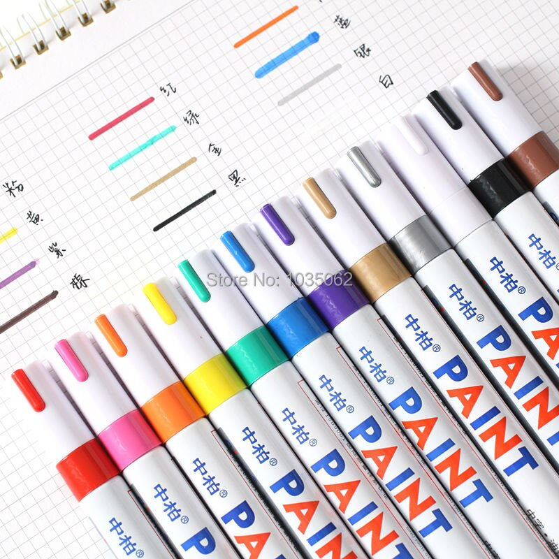S110 farbe stift marker permanent, stift für writting auf stoffe glas holz Reifen öl lila/rosa/blau/kaffee/gold/silber