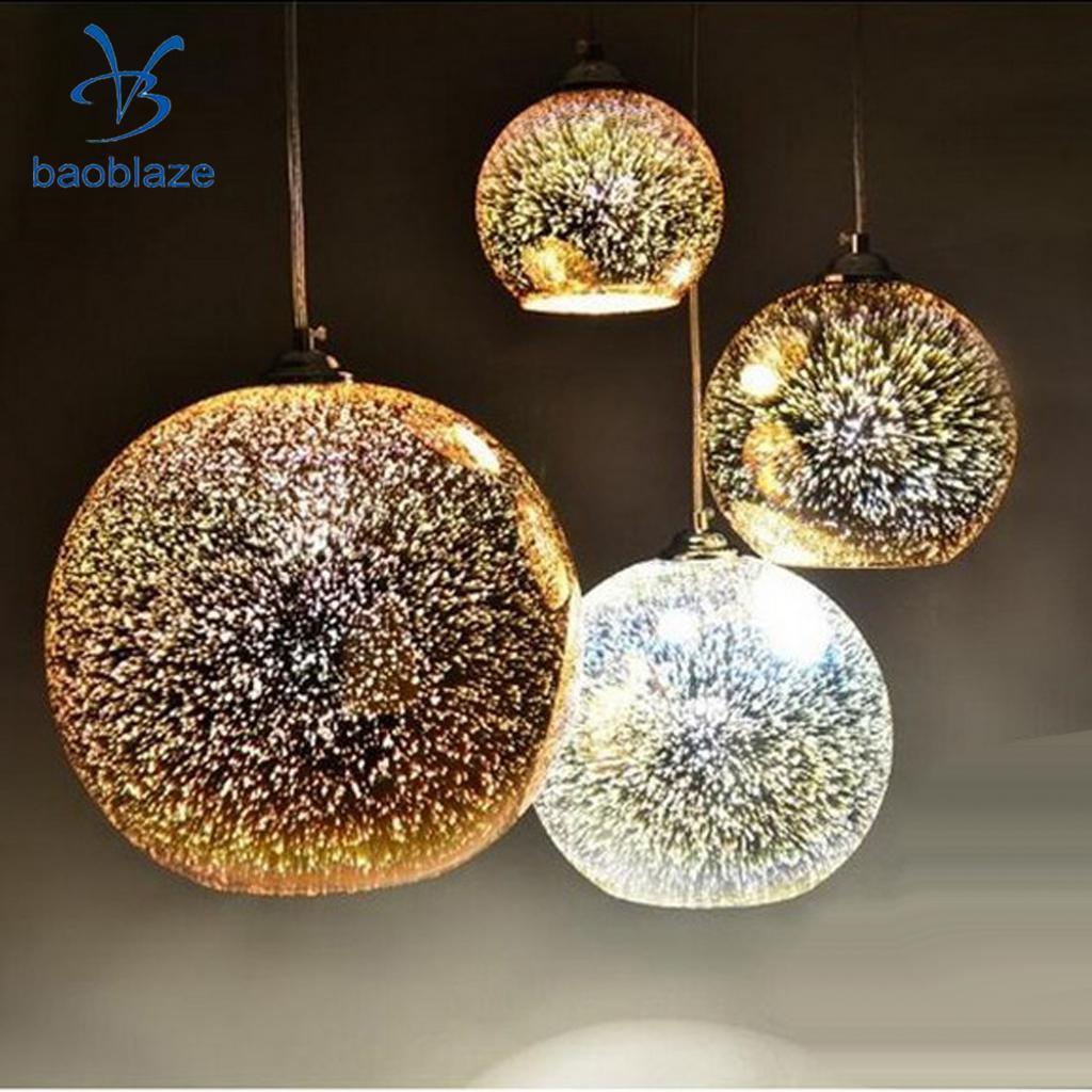 Lámpara de araña de cristal brillante 3D con Base E27, 2 uds., lámpara de techo para restaurante, decoración de Bar o casa