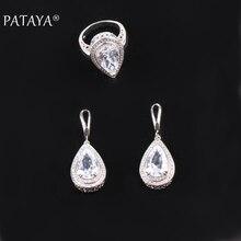 Pataya conjuntos de jóias de casamento gota de água natural zircônia anel brincos conjuntos de acessórios de noiva famoso designer conjuntos de jóias femininas