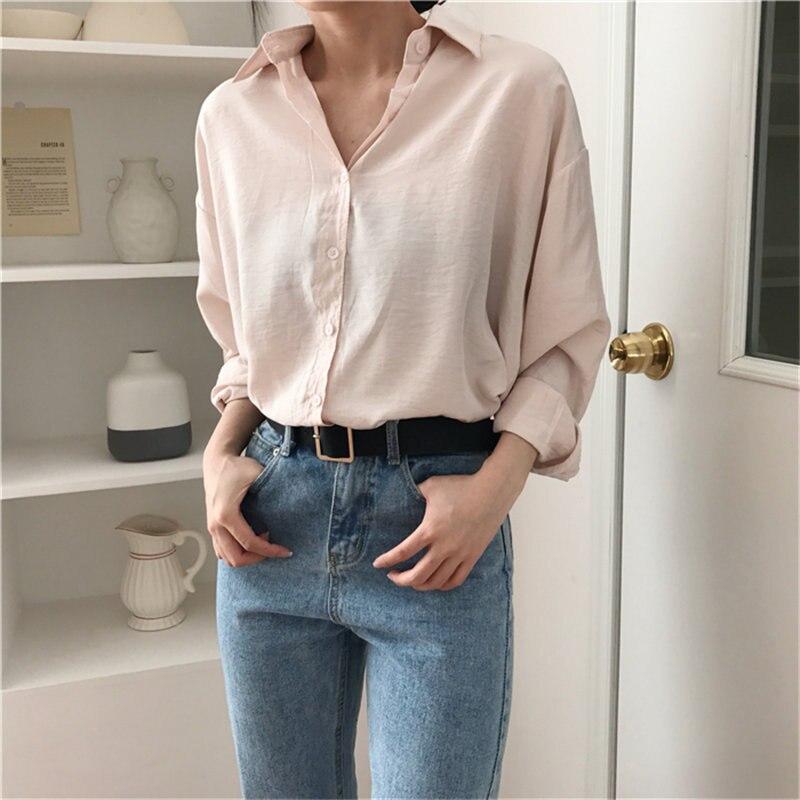 HziriP verano básico Mujer libre blusas delgadas elegante Casual Corea Chic 2019 elegante dulce fresco sólido de manga larga de moda camisa