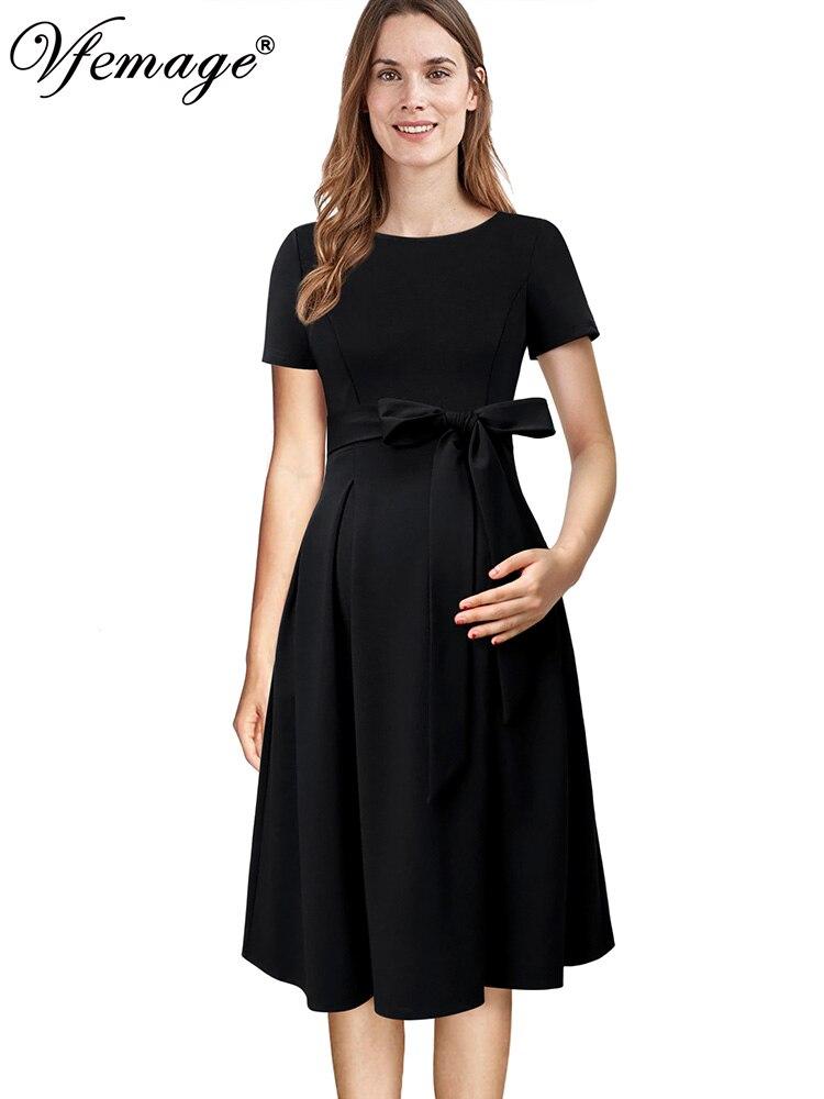Vestido de patinadora de fiesta informal plisado de cintura alta con bolsillos y cremallera frontal de maternidad para mujer de Vfemage 018