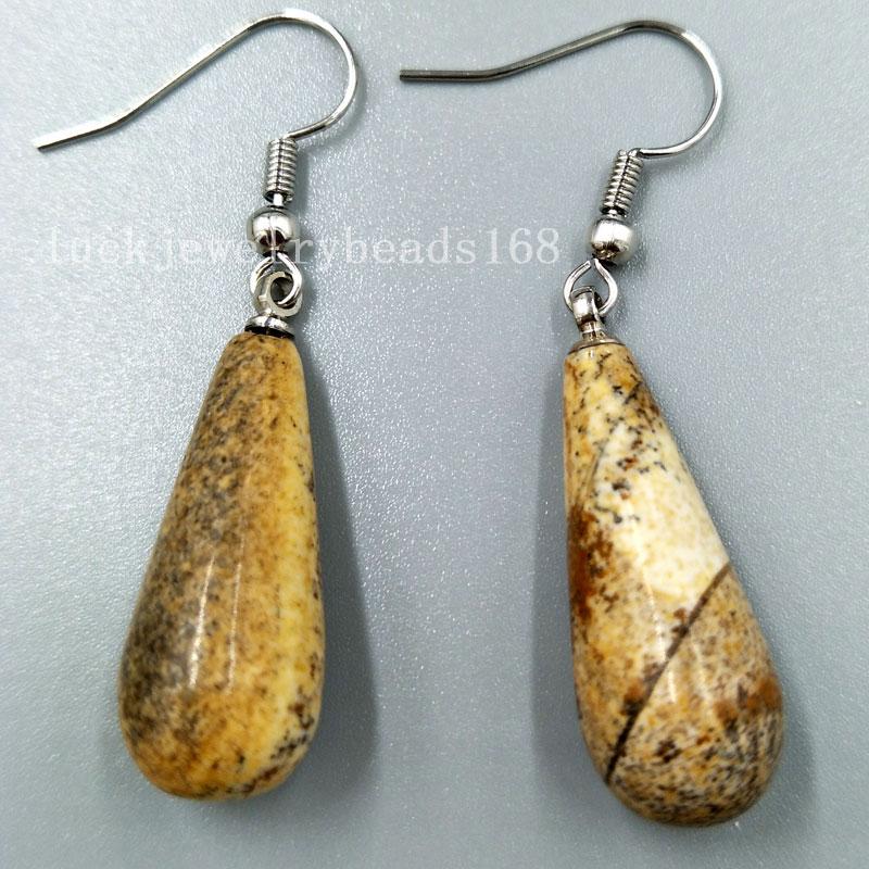 Kostenloser Versand Frauen Mode Schmuck 10x29mm Bild Jaspe Wasser Tropfen Frauen Perle Baumeln Ohrringe Paar C5114