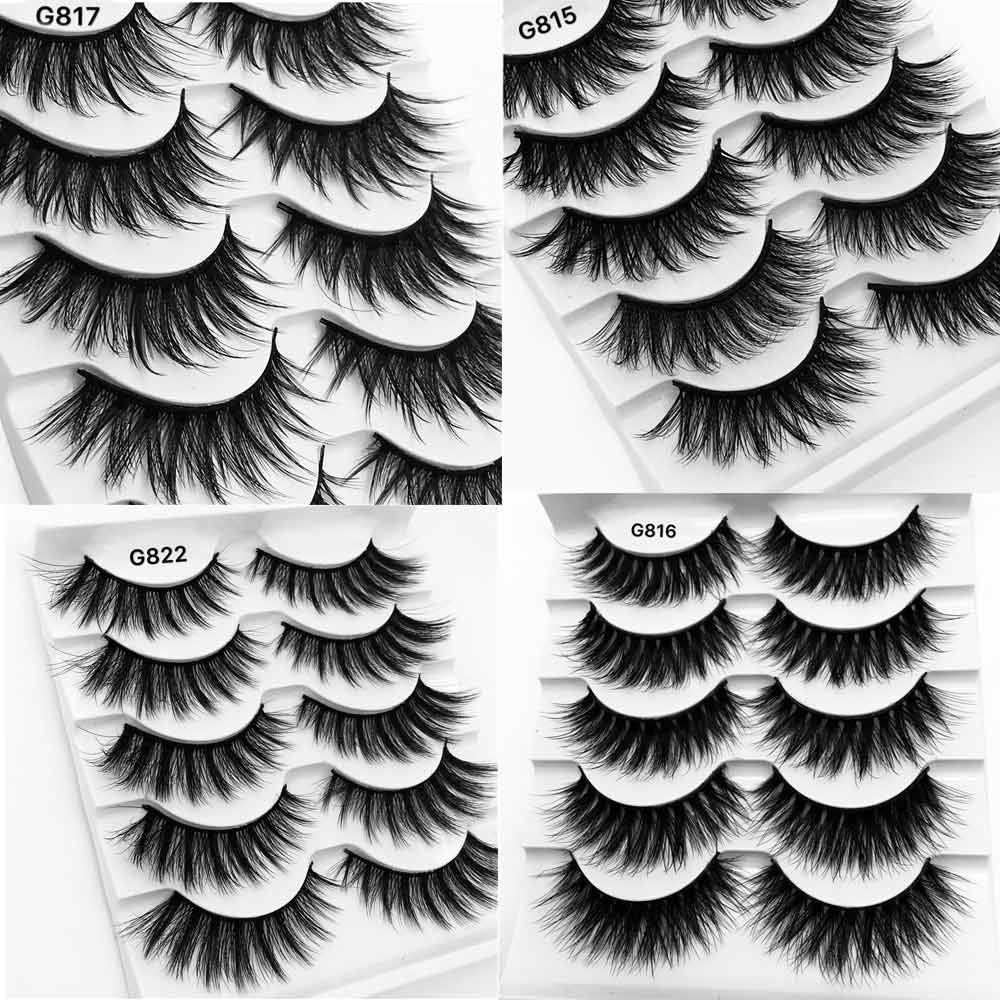 5Pairs 3D Mink Lashes False Eyelashes Natural Eyelash Extension Volume Lashes Long Cross Faux Eye Lashes Makeup G800 G815 Fake L