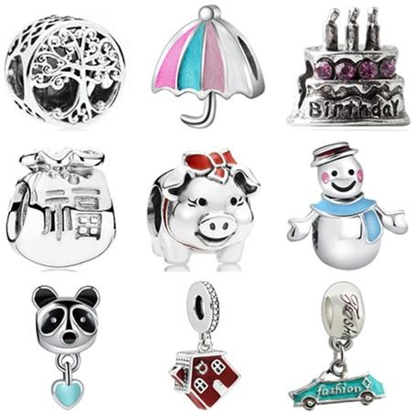 Gran oferta de collares con forma de ancla Robot de colores pequeños, abalorios de Mickey compatibles con pulseras Pandora, collares para mujer, joyería Maxi DIY