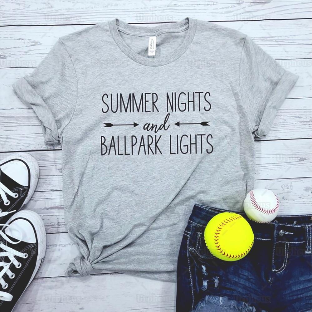 Sommer Nächte Und Ballpark Lichter Hemd Baseball Softball Tshirt Baseball Sprüche Ball Mom Harajuku Sommer Kurzarm