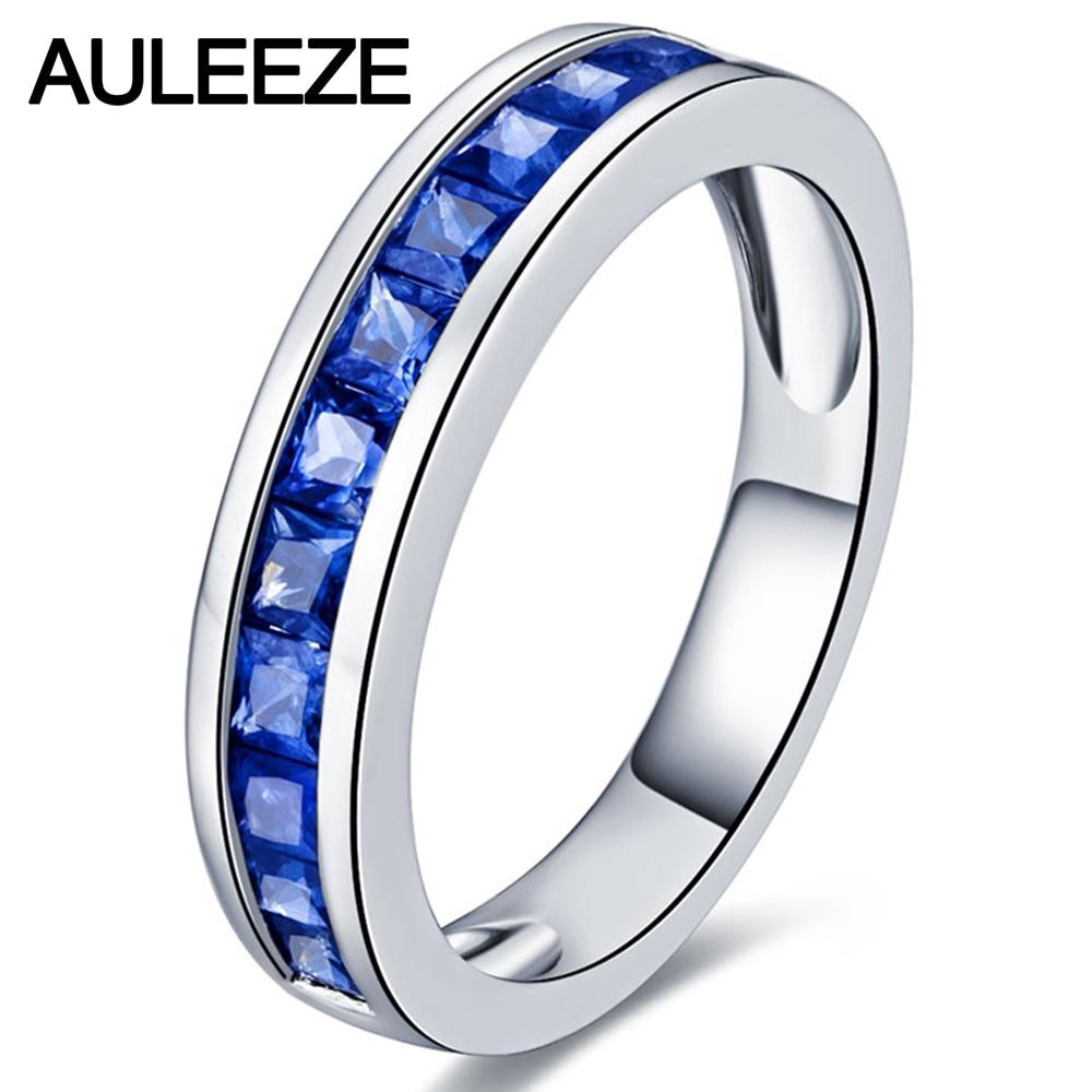 Огранка для принцессы, 1 шт, настоящий натуральный Сапфировый Браслет для свадьбы, 14 к, белое золото, Женское кольцо, подарок на день рождения...