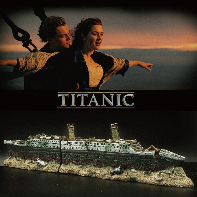 تايتانك فقدت سفينة قارب حطام كبير حوض السمك زينة زخرفية حوض السمك سفينة سبليت حطام سفينة حوض للأسماك ديكور حطام غرقت