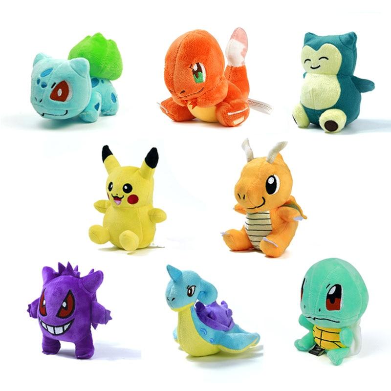 "Mini Pikachu Figure Plush Doll Toy 5.5"" Pikachu Charmander Gengar Bulbasaur Suicune Dragonite Snorlax Stuffed Toy Gift"
