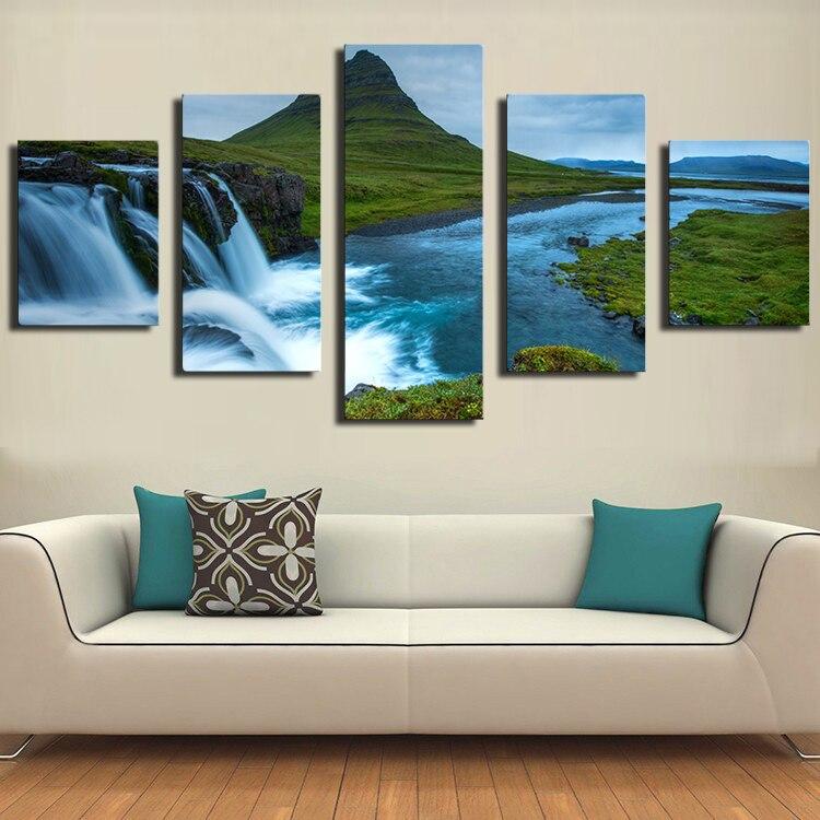 5 uds hermosa cascada de Islandia colinas río en el mundo decoración de pared moderna de hogar impresión en lienzo pintura de pared sin marco