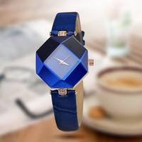 Люкс женские часы Геометрия вырезанного камня Кристалл Кожи кварцевые часы женские наручные Мода платье часы дамы подарки часы Relogio Feminino