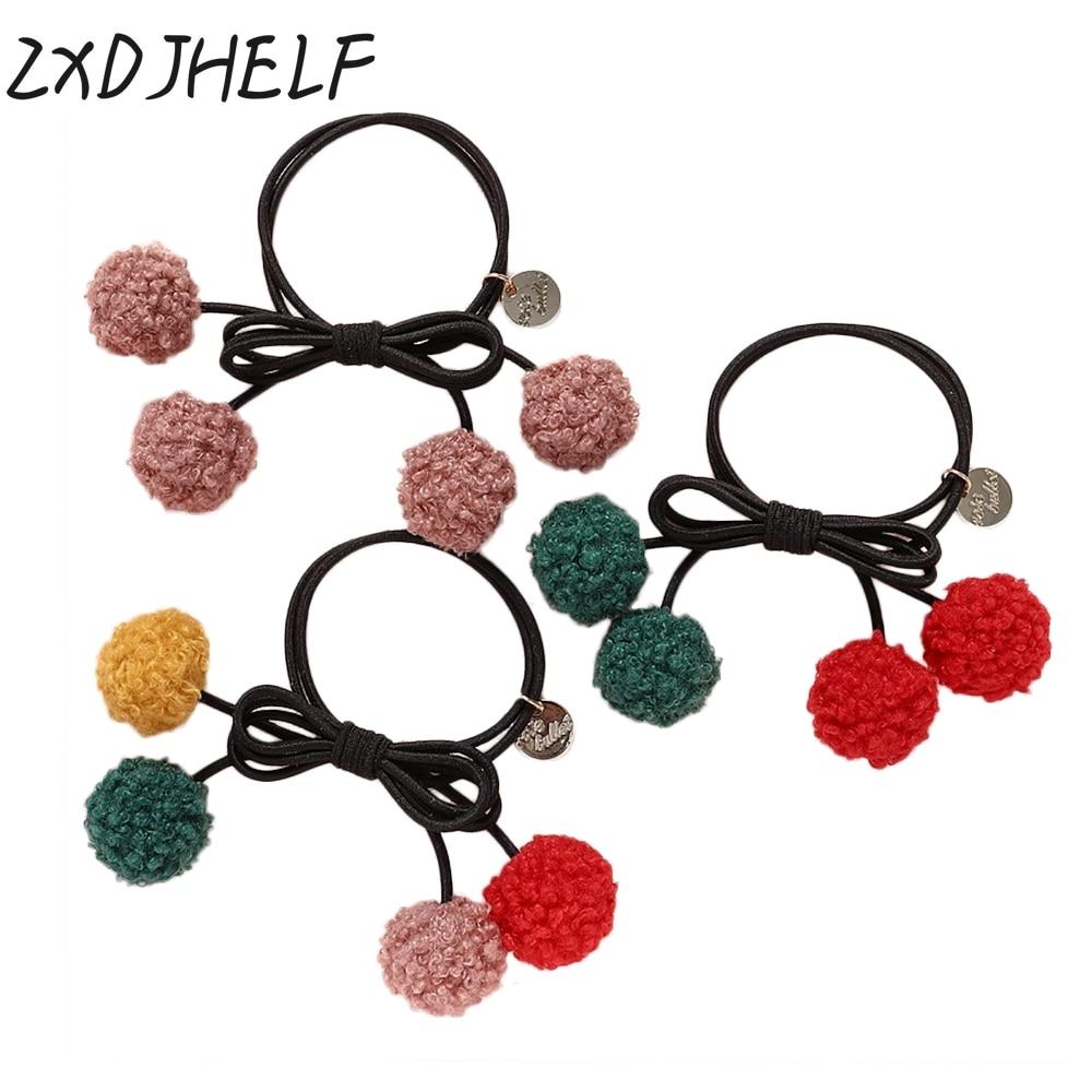 ZXDJHELF Korea Fashion Headwear Cherry Hairball Elastic Ponytail Holders Hair Accessories Girl Women Rubber Bands Tie Gum F052