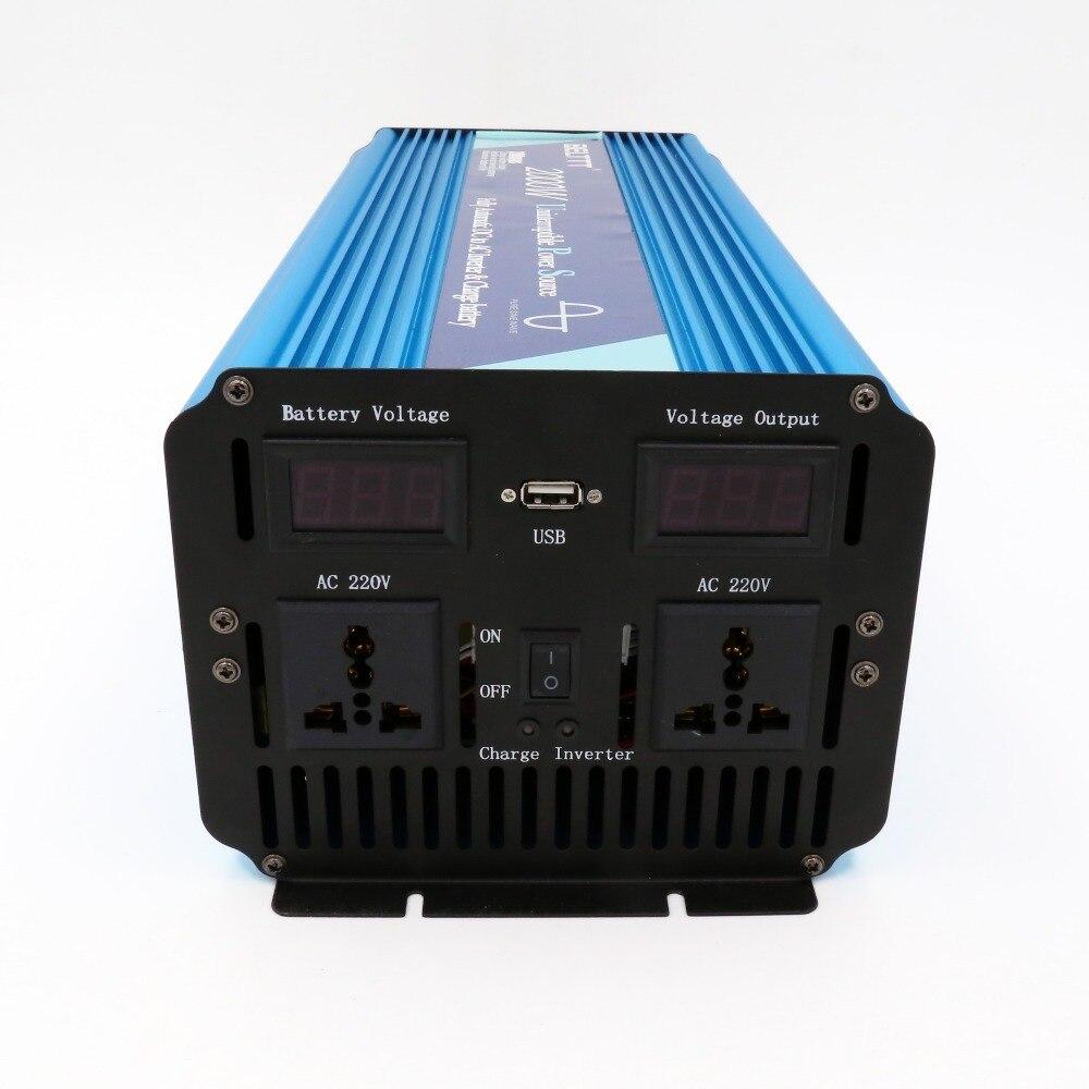 Inversor inteligente de onda sinusoidal pura de 2000 w, cargador de batería integrado, inversor de corriente de 12v y 220v a precio de fábrica