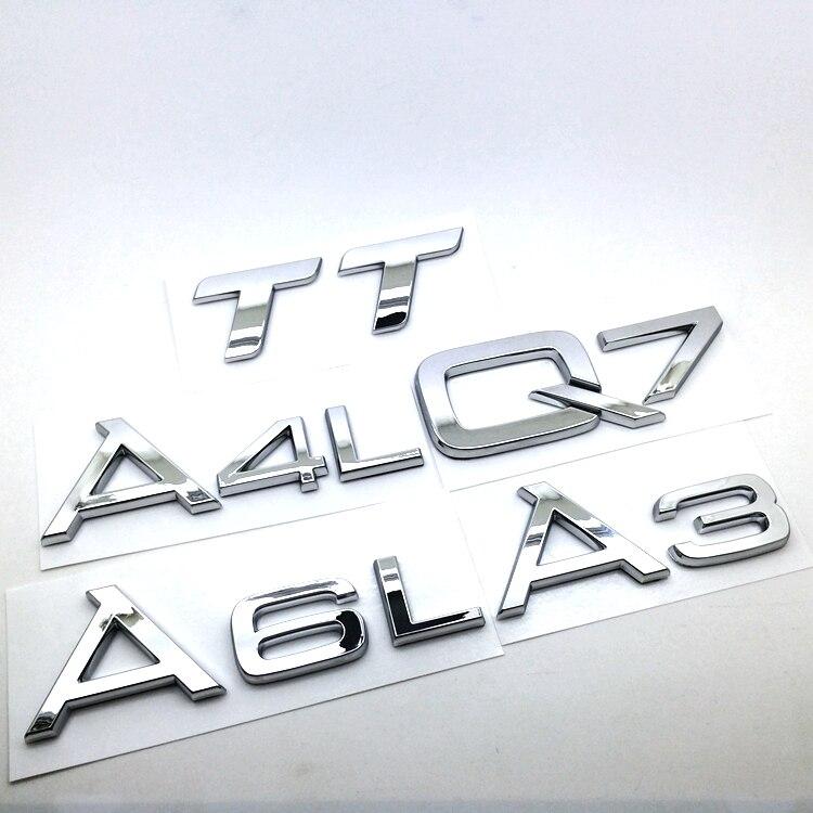 1 pçs abs emblema traseiro do carro adesivo traseiro para audi a3 a4 a6 a8 q3 q5 q7