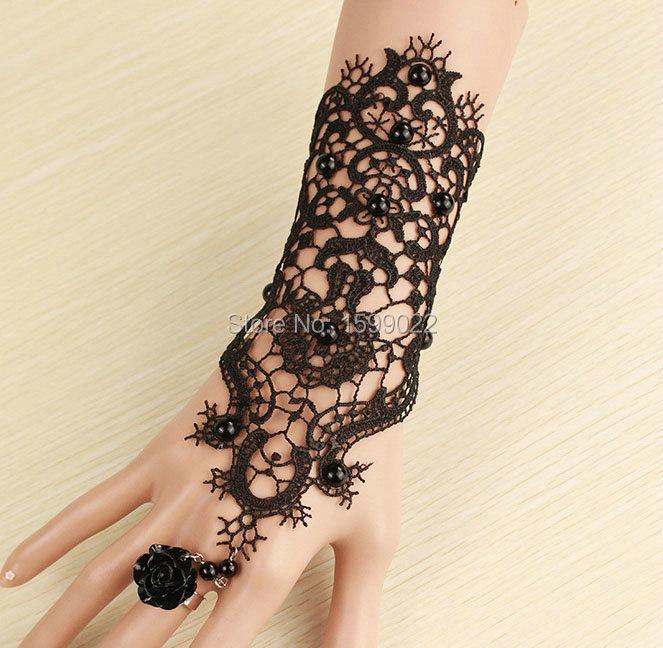 2 Pçs/lote Moda Vintage Black Lace Tatuagem Pulseira Dedo Pulso luvas Acessórios Vestido de Traje para As Mulheres Mão Jóias Gótico