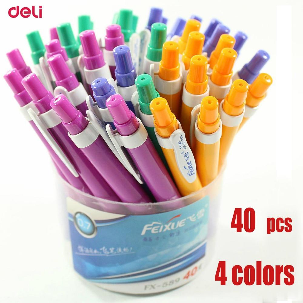 Deli Ballpoint Pens 40 pcs 0.7mm Press Lovely Snow Creative School Supplies Stationery Gel Pen Cheap Conventional Whole ballpen