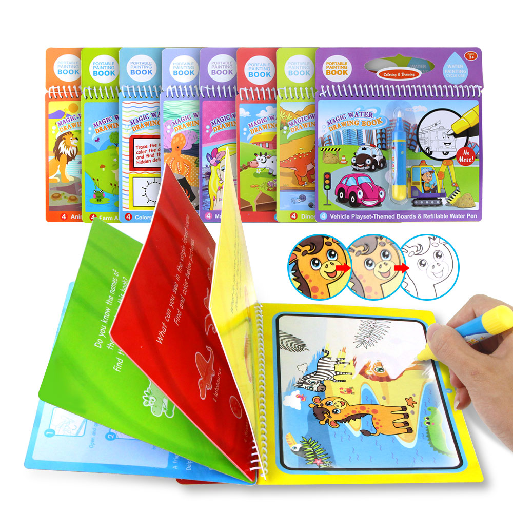 8 tipos de água mágica desenho livro escrita doodle livro para colorir placa para crianças pintura esteira cedo brinquedo educativo para crianças}