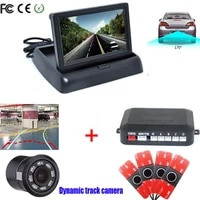 car detector 16mm parktronic dual core video parking sensor tracking rear view camera show distance on 4 3 inch foldable mirror