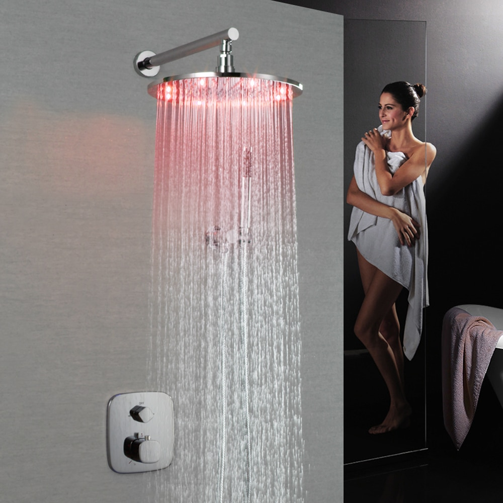 SKOWLL Bathroom Faucets Accessories Round LED Shower Head with Thermostatic Valve Mixer SK-7627