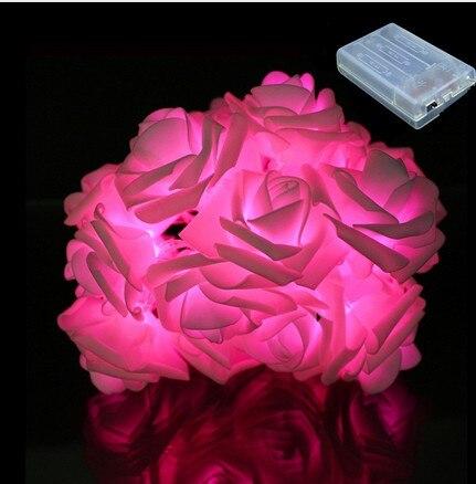 2m 20 rosa bateria luz led string luzes coloridas do feriado festa de casamento decoracao