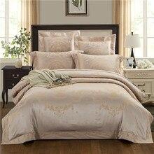 IvaRose Golden Pink Silk Cotton Luxury Queen King Size Bedding Sets Jacquard Lace Bed set Duvet cover+Flat sheet+Pillowcases