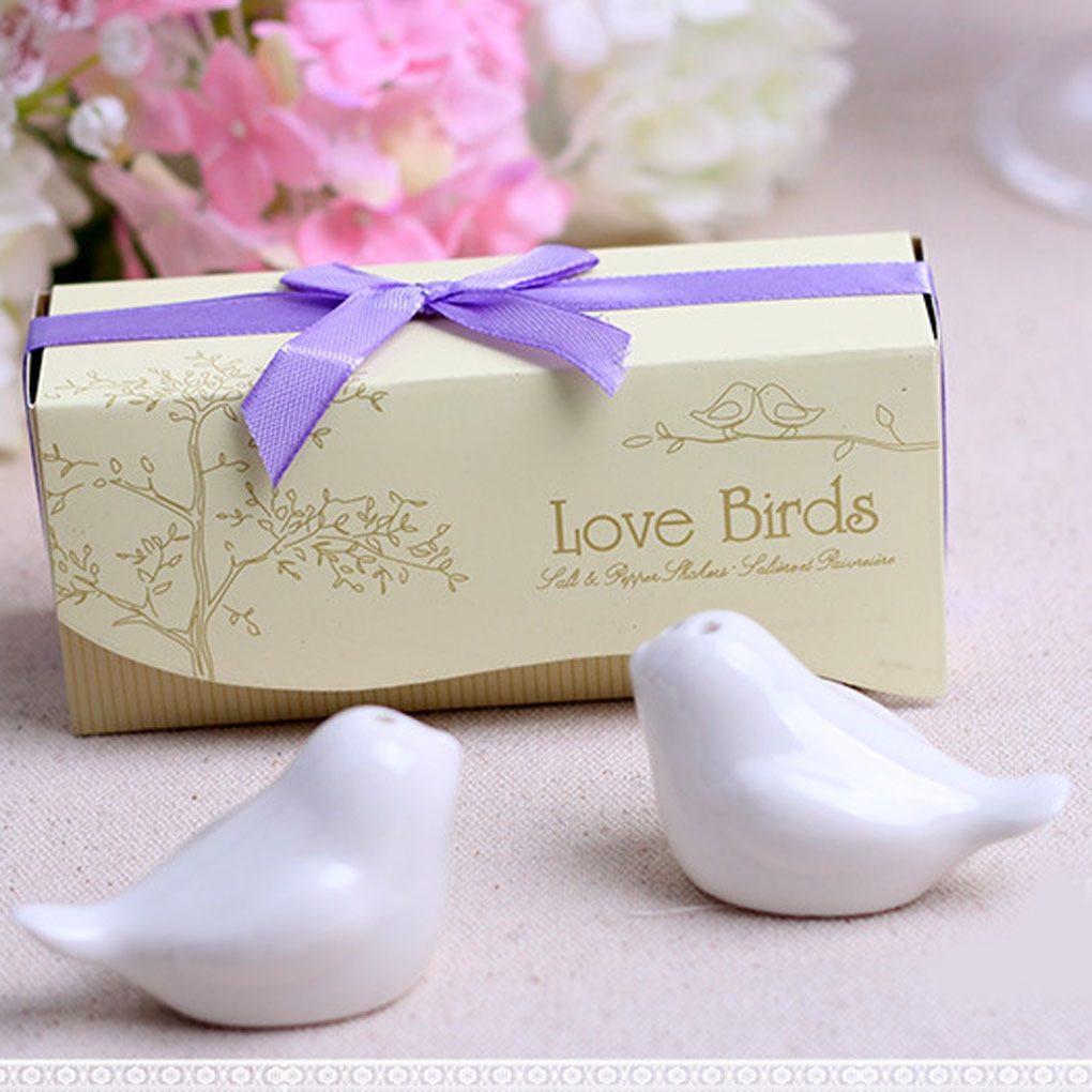 Secoueur céramique blanche à épices   Lot de 2 pièces love Birds, salière à poivre, outils de cuisine, conteneur dassaisonnement
