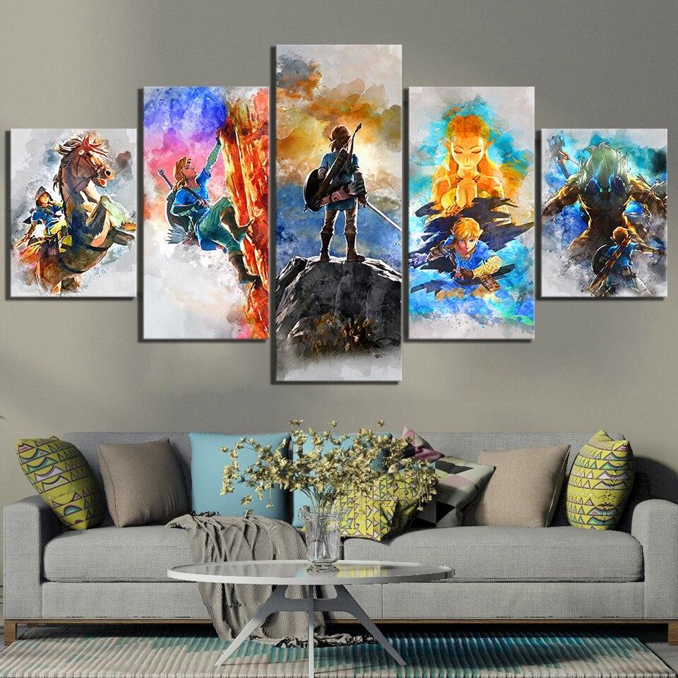5 шт. Абстрактные Художественные картины легенда о Зельде дыхание диких видеоигр плакат холст художественные картины для декора стен