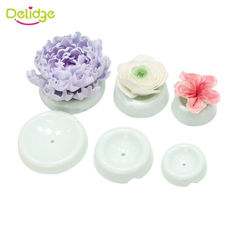 Delidge 6pcs/set Plastic Cake Flower Drying Mold 3D Button Shape Gum Paste Fondant Cake Decorating Flower Forming Drying Moulds
