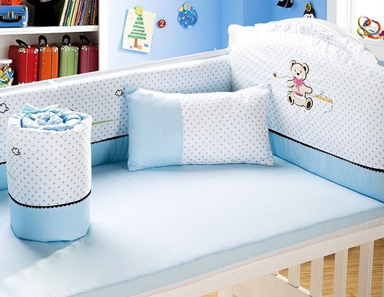 6PCS girl boys baby bedding set baby crib kit de berço baby bumper baby bed bumper ,include(4bumpers+sheet+pillow)