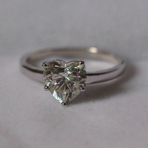 Sólido 14K oro blanco 585 inolvidable propuesta anillo 2Ct moissanita prueba positiva anillo de boda para mujer, garantía de calidad