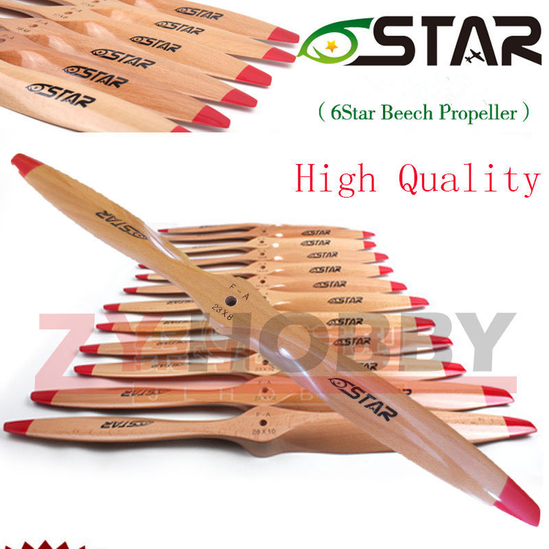 1 piece 16x8 17x6 18x8 18x10 19x8 23x12 6 Star 2 Blade Wooden RC Airplane Propeller enlarge