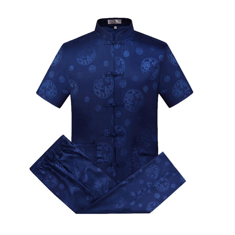 Juegos de trajes Oriental_element estilo chino de manga corta de dragón kung-fu para hombre Camisa + Pantalones S M l XL XXL 3xl 0627