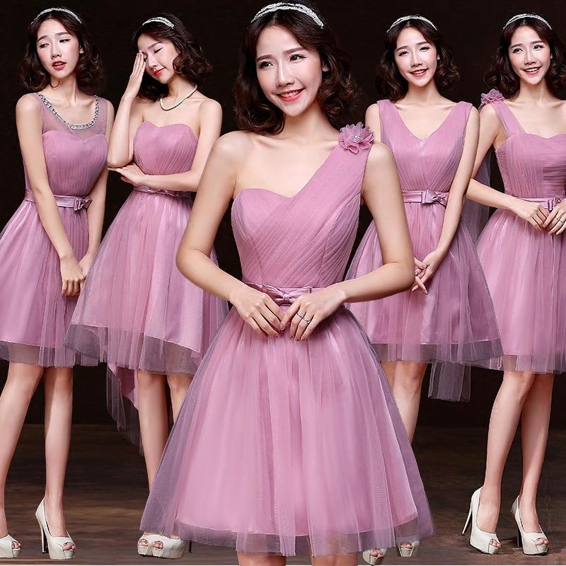 HL7979 2016 حار جديد قصير فستان وصيفة الشرف مأدبة فقرة قصيرة مهمة الأخوات فستان وصيفة العروس الفاصوليا الحمراء اللون