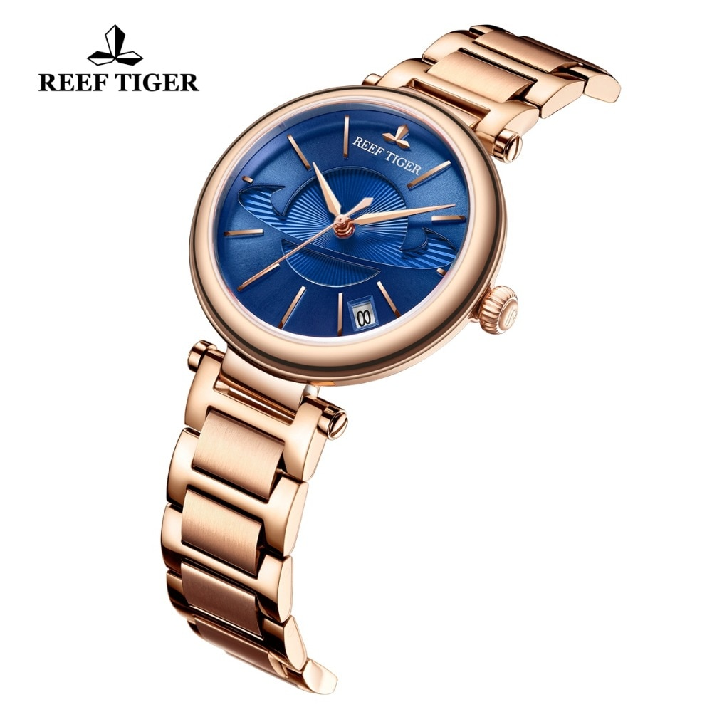 Reef Tiger/RT Fashion Blue Watch Women Luxury Steel Exquisite Watch Brand Luxury Automatic Watches reloj mujer RGA1591 enlarge