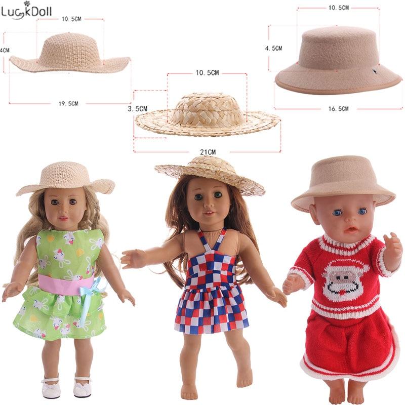 3 estilos lindo sombrero tejido 18 pulgadas y 43 CM muñeca bebé Ropa Accesorios chica juguetes de regalo de cumpleaños